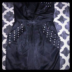 A.B.S black satin strapless cocktail dress
